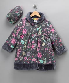 Take a look at this Gray Floral Faux-Fur Cuff Coat & Mushroom Hat by Color Collaboration: Girls' Apparel on #zulily today!
