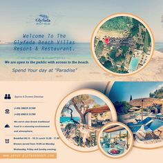 """Welcome to Glyfada Beach villas resort and restaurant.  Spend your day at """"paradise"""". We are open to the public!  Entrance fee only Euro 3,00 per person & you are able to use both swimming pools, sunbeds, umbrellas at our beach area, toilets and shower.  Parking for free.  If you want to make a reservation, ☎ (+30) 6981021799  #BeOurGuest #paxos🇬🇷⚓️⛵️ #travelingreece  #traveldestination #greekrestaurant  #Food #greekfood #greekfoodporn #dinner #lunch #breakfast #greekislands #tasteofgreece… Greek Restaurants, Beach Villa, Resort Villa, Us Beaches, Toilets, Greek Islands, Greece Travel, Umbrellas, Villas"""