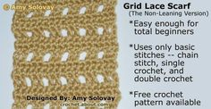 How to Crochet a Grid Lace Scarf Non-Leaning Version