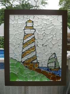 seaglass mosaic...this would take lots of walks on the beach to complete...