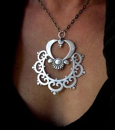 "Pendant | Sasha Bell.  ""Ornate Tribal"".  Sterling silver"