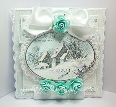 Stampendous  - Snowy postcard, Spellbinders floral oval die,Stardust Stickles