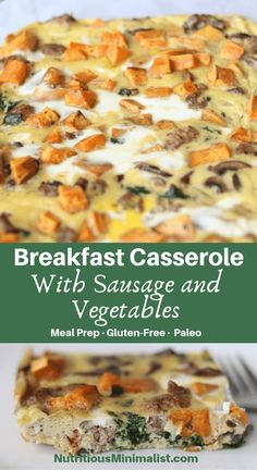 Breakfast casserole made with eggs, sausage, sweet potatoes, spinach, and mushrooms. Great for a make-ahead weekday breakfast or a leisurely weekend brunch. Easy Healthy Meal Prep, Easy Healthy Recipes, Paleo Recipes, Real Food Recipes, Free Recipes, Healthy Food, Healthy Eating, Protein Recipes, Yummy Recipes