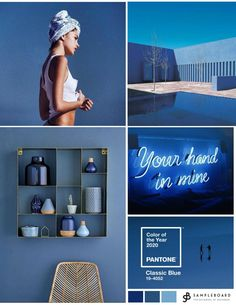 Pantone color of the year Classic Blue in interior design Pan. Pantone color of the year Classic Blue in interior design Pan. Pantone Blue, Pantone 2020, Pantone Color, Interior Design Videos, Interior Design Layout, Azul Indigo, Hotel Interiors, Blue Interiors, Design Your Home