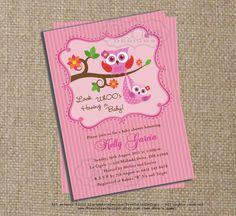 Owl Baby Shower Invitation for Girl
