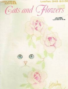 "Cross Stitch Patterns ""Cats and Flowers"" Cat Faces with Flower Backgrounds"