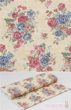 """lovely cream colored cotton oxford fabric with vintage roses bouquets in dark pink, blue, light brown, green etc., Material: 100% cotton, Pattern Repeat: ca. 25cm (9.8"""") #Cotton #Oxford #Flower #Leaf #Plants #JapaneseFabrics"""