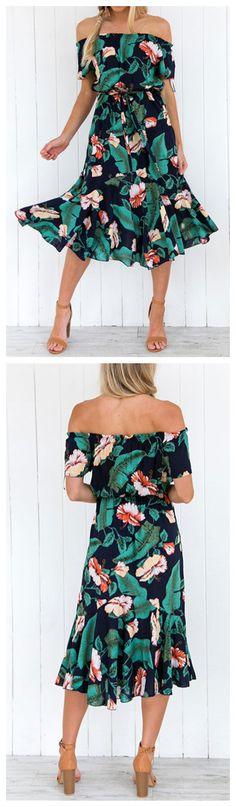 Slash Neck Off Shoulder Leaves Printed Day Dress Product Code: OP266430 $24.99