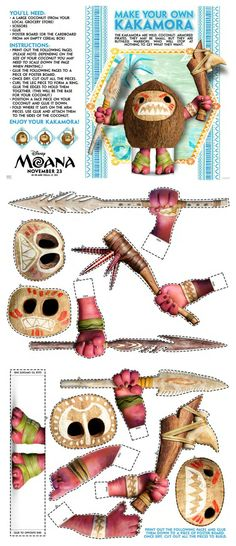 Disney Moana Make Your Own Kakamora Craft Moana Birthday Party, Luau Birthday, 4th Birthday Parties, Birthday Ideas, Moana Crafts, Disney Crafts, Tiki Party, Luau Party, Moana Y Maui