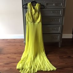BCBG Ball Gown A tropical ball gown from BCBG Max Azria. Absolutely gorgeous on, you'll feel like you're floating in the accordion pleats. Small repair at zipper, worn once. Great for prom or a spring ball. BCBG Dresses Prom