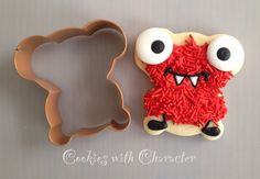 Monster cookie using an upside down teddy bear cookie cutter