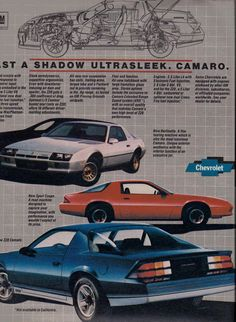 1982 Chevy Camaro ad#5 - Whole Camaro family, white, blue and red.