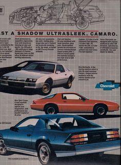 Chevrolet Camaro Third Generation Model Chart Sport Z28