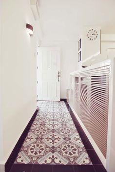 Peranakan tiles for entrance foyer Narrow Living Room, Living Rooms, Interior Design Programs, Black Interior Doors, Entrance Foyer, Floor Patterns, Small Dining, Floor Design, Dining Room Furniture