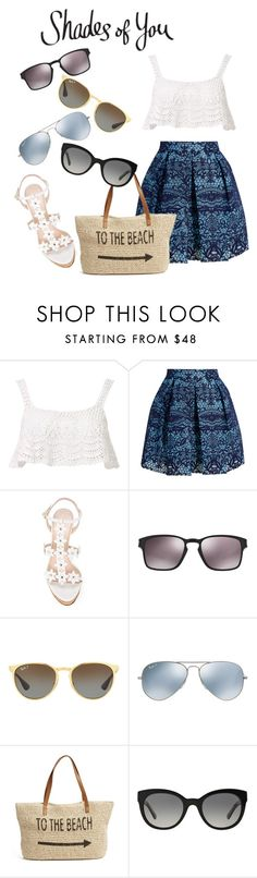"""""""Shades of You: Sunglass Hut Contest Entry"""" by xrainbowsprinklesx ❤ liked on Polyvore featuring Beauty & The Beach, Maje, Oscar de la Renta, Oakley, Ray-Ban, Straw Studios, Burberry and shadesofyou"""
