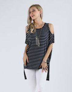 #VIPme Navy & Gray Stripe Cold-Shoulder Hi-Low Tunic - Pl ❤️ Get more outfit ideas and style inspiration from fashion designers at VIPme.com.