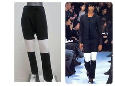 HELMUT LANG vintage 90s black wool pants with white inserts