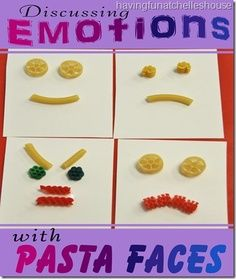 Discussing Emotions with Pasta Faces! #preschool #efl #education (repinned by Super Simple Songs)