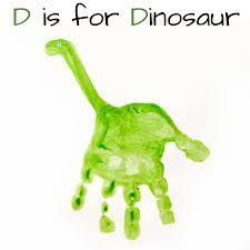 D is for Dinosaur - Handprint Dinosaur Children's Craft / Art Project - Great for Pre-K Complete's Dinosaur theme! Repinned by Pre-K Complete - follow us on our blog, FB, Twitter, & Google Plus!
