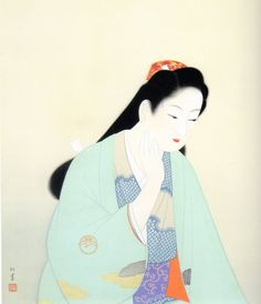 Uemura Shōen (April 23, 1875 – August 27, 1949) was the pseudonym of an important female artist in Meiji, Taishō and early Shōwa period Japanese painting. Her real name was Uemura Tsune. Shōen was known primarily for her bijinga paintings of beautiful women in the nihonga style, although she also produced numerous works on historical themes and traditional subjects.