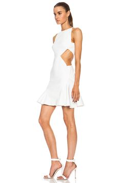 Cushnie Et Ochs Forward Exclusive Flared Viscose Blend Dress With Side Cutouts In White