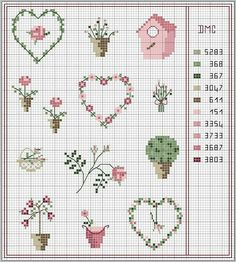 free flowery grid – Famous Last Words Mini Cross Stitch, Cross Stitch Heart, Cross Stitch Cards, Cross Stitch Borders, Cross Stitch Flowers, Cross Stitch Designs, Cross Stitching, Cross Stitch Embroidery, Hand Embroidery