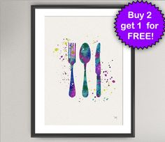 CUTLERY Nº1 Watercolor Art Print - Ink Antique Spoon Fork Knife Painting illustrations Art Print Wall Art Poster Giclée Wall Decor Art Home