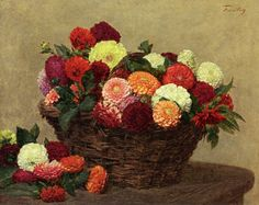 "Henri Fantin-Latour (1836-1904) ""Basket of Dahlias"" In the language of flowers, Dahlias represent dignity and instability, as well as meaning my gratitude exceeds your care."