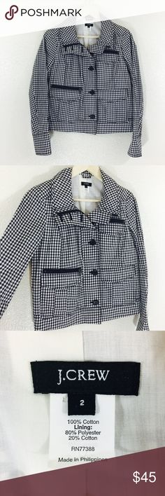 J. Crew Gingham Check Style Jacket In excellent used condition. Comes with extra buttons. Bust measures 19 inches. Length is 23 inches. Has zipper and chunky buttons on the front. J. Crew Jackets & Coats