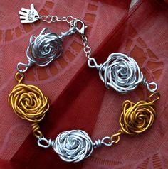 gold silver bracelet roses roos armband jewelery sieraden handmade craft