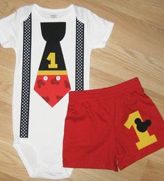 Mickey Mouse Inspired Birthday Tie And Suspender Bodysuit
