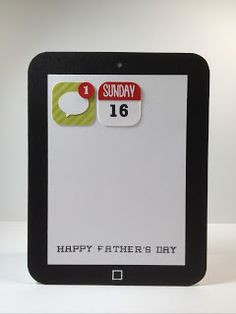 Card Shaped like a tablet and with Icons to indicate the date of Father's Day