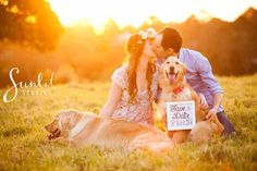 Save the date photo with dog