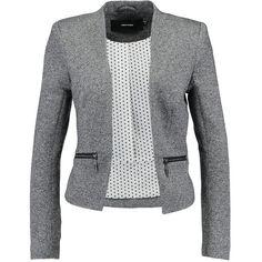 Vero Moda VMVICTORIA ZIP POCKET SHORT Blazer ❤ liked on Polyvore featuring outerwear, jackets, blazers, blazer jacket, zip pocket jacket, zipper pocket jacket, short-sleeve jackets and dark grey blazer