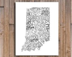 8.5x11 State of Indiana Typography Print Map; Wall Decor; Wall Art; Wedding Anniversary Engagement Graduation Gift Decor