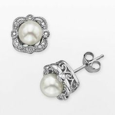 Simply Vera Vera Wang Sterling Silver Freshwater Cultured Pearl and Diamond Accent Stud Earrings