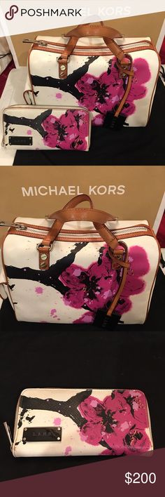L.A.M.B cherry blossom satchel set Beautiful satchel in brand new condition.Never used.Comes with matching wallet.The wallet was used handful of times but in great condition.theres some small stain around the zipper canvas material but hardly noticeable. L.A.M.B. Bags Satchels
