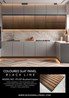 Kitchen Wall Panels, Kitchen Wall Design, Home Room Design, Modern Kitchen Design, Home Decor Kitchen, Interior Design Kitchen, Kitchen Design Minimalist, Minimalist Kitchen Cabinets, Minimal Kitchen