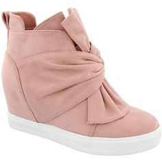 Top Moda Shadow Wedge Sneaker ($27) ❤ liked on Polyvore featuring shoes, sneakers, blush, round toe shoes, round cap, wedge sneakers, top moda shoes and platform wedge sneakers
