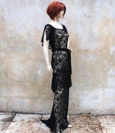 1930s DECO black lace evening gown- 30s Boardwalk Empire long formal dress