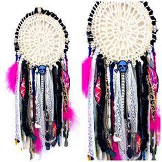 Gothic Gypsy hippie Ibiza boho bedroom dreamcatcher textile skull cross bones