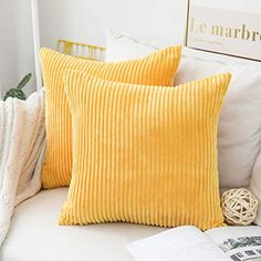 Home Brilliant Spring Decor Pillow Covers Super Soft Decorative Striped Corduroy Velvet Square Mustard Throw Pillow for Couch Sofa Cushion Covers Set of inch Sunflower Yellow – Sofa Design 2020 Large Pillow Covers, Large Throw Pillows, Sofa Throw Pillows, Sofa Cushion Covers, Decorative Pillow Covers, Cushions On Sofa, Throw Pillow Covers, Couch Sofa, Bedroom Decor