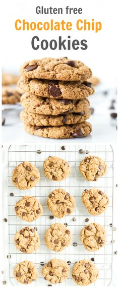 These Gluten-free Chocolate Chip Cookies are fantastic without any flour in them! They are as good as a traditional cookie: soft, chewy and flavourful! primaverakitchen.com