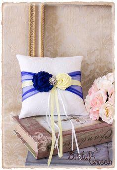 Ring Bearer Pillow, Wedding Ring Bearer Pillow, Royal Blue and Baby Maize Ring Bearer Pillow, Wedding Accessories, Custom Color by BridalQueen on Etsy https://www.etsy.com/listing/231966808/ring-bearer-pillow-wedding-ring-bearer