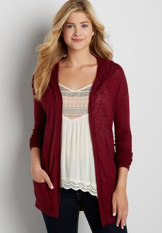 lightweight hooded cardigan (original price, $34.00) available at #Maurices