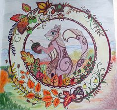 Johanna Basford Enchanted Forest coloring Primacolor Premiere squirrel autumn leaves landscape