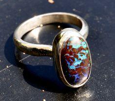 Australian boulder opal sterling ring