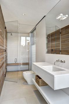 Wood finishing and concrete would always make for a great combination and this modern bathroom décor further illustrates this point. Bathroom 20 Unusual Modern Bathroom Design Ideas - Home Magez Modern Contemporary Bathrooms, Modern Bathroom Decor, Bathroom Interior, Bathroom Ideas, Contemporary Style, Bathroom Organization, Bathroom Inspo, Design Bathroom, Bath Decor