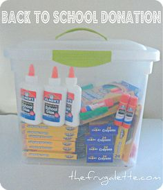 Use a fun storage box, fill it with school supplies and give it to a teacher or organization in need.  #BagItForward