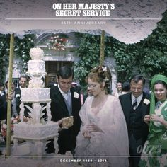 James Bond (George Lazenby) weds Tracy Di Vicenzo (Diana Rigg) in ON HER MAJESTY'S SECRET SERVICE. The wedding was filmed at the Vinhas Estate, Zambujal in Portugal.